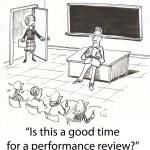 Principal breaks in on tired teacher. — Stock Photo