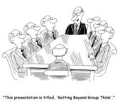 Today's theme is getting beyond group think — Stock Photo