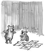 Bear kids play hopscotch in the woods — Stock Photo