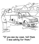 The farmer's cows have gotten loose again and he says to a neighbor in suburbia — Stock Photo