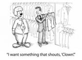 The gentleman wants his clothes to match his clown nose. — Stock Photo