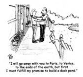 Man must fulfill promise to build a duck pond. — Stock Photo