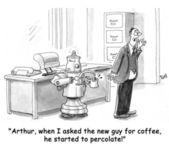 机器人使咖啡不可以问一问咖啡 — 图库照片