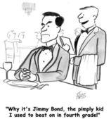 Waiter sees Jimmy Bond — ストック写真