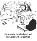 Divorcing couple is arguing in court. — Stok fotoğraf