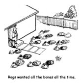 Rags wanted all the bones all the time. — Stock Photo