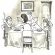 Stock Photo: Family dinner escalate to conflict