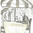 Man and woman eat in a restaurant — Foto Stock