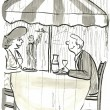 Man and woman eat in a restaurant — 图库照片