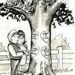 Stock Photo: Couple in love looking at labels on tree