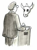 Man looking at a large skull — Stock Photo