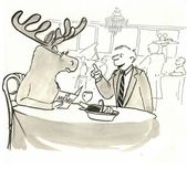 A man with a deer sitting in a restaurant — Stock Photo