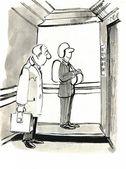 彼の背中にパラシュートでエレベーターの中で男 — ストック写真