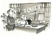 Employee writes 'I quit' on boss' window. — Stock Photo