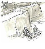 壊れたダム近くに座る人 — ストック写真