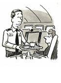 Steward serves during flight — Stock Photo