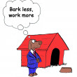 Dog thinks to bark less work more — Stock Photo