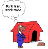 Dog thinks to  bark less work more — Foto Stock