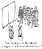 Employee of the month is first on elevator — Stock Photo