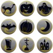 Stock Vector: Halloween icons on gray with yellow