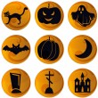 Stock Vector: Haloween icons on orange background