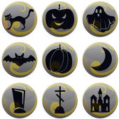 Halloween icons on gray with yellow — 图库矢量图片