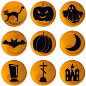 Haloween icons on orange background — Vector de stock