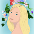 Stock Vector: Blonde with flowers