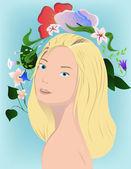 блондинка с цветами — Cтоковый вектор