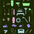 Set of cleaning and healthcare icons in pastel colors — Image vectorielle