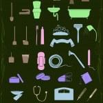 av rengöring och hälso-och ikoner i pastellfärger — Stockvektor