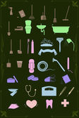 Set of cleaning and healthcare icons in pastel colors — Stockvector