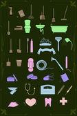 Zestaw ikon sprzątania i opieki zdrowotnej w pastelowych kolorach — Wektor stockowy