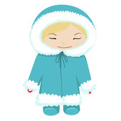 Baby in winter dress — Vector de stock