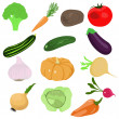 Stock Vector: Set of cartoon vegetables