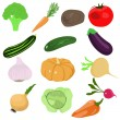 Set of cartoon vegetables - Stock Vector