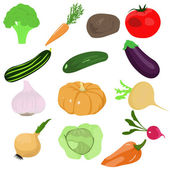 Set of cartoon vegetables — Stock Vector