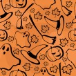 Halloween seamless pattern with maples — Stock Vector
