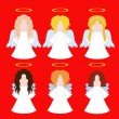 Set of simple angels — Stock Vector