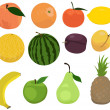 Stock vektor: Set of fruits