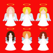 Set of simple angels — Vector de stock