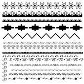 Conjunto de fronteiras em preto e branco — Vetorial Stock