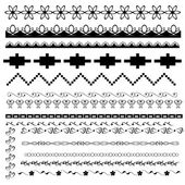 Set of black-and-white borders — Vector de stock