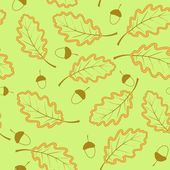 Seamless pattern witk oak leaves — Stok Vektör