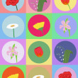 Seamless pattern with cartoon flowers — Imagen vectorial