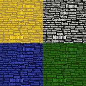 Set di seamless pattern con nomi di città — Vettoriale Stock