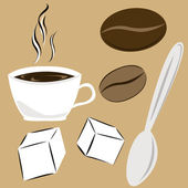 Coffee attributes — Stock Vector