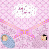 Baby shower for two babies — Vector de stock