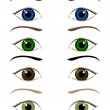 Stock Vector: Set of cartoon eyes