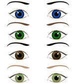 Komplet kreskówka oczy — Wektor stockowy